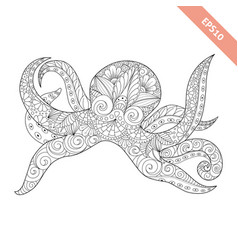 Cartoon octopus with ornament vector
