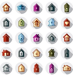 Colorful different houses icons for use in graphic vector image vector image
