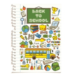 Colorful doodle school icons set vector image