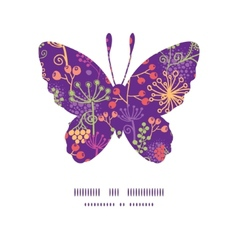 Colorful garden plants butterfly silhouette vector
