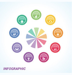 colourful striped circles template infographics vector image vector image