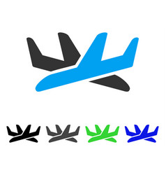 Crossing airplanes flat icon vector