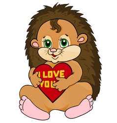 Cute hedgehog holding a red heart vector image vector image