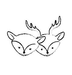 figure cute deer head animal couple together vector image vector image
