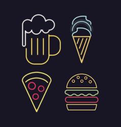 food icons neon lights vector image
