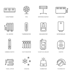 Heating ventilation and conditioning icons set vector