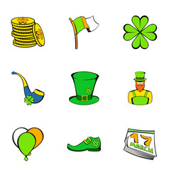 Leprechaun icons set cartoon style vector