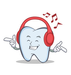 Listening music tooth character cartoon style vector