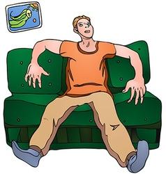 Man on sofa vector image vector image