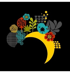 Night label with birds and flowers vector