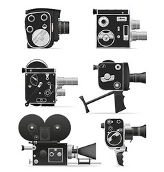 old retro vintage movie video camera 06 vector image