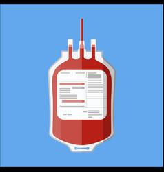Plastic blood bag donate blood concept vector