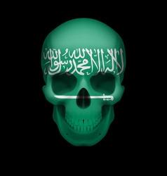 Saudi arabian flag skull vector