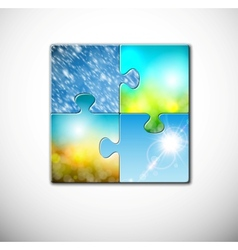 Seasons in puzzle vector image vector image