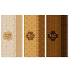 Set of chocolate packaging in trendy linear style vector image