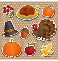 Set of happy thanksgiving holiday sticker object vector