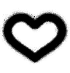 Sprayed graffiti heart in black over white vector