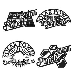 Vintage solar panels emblems vector