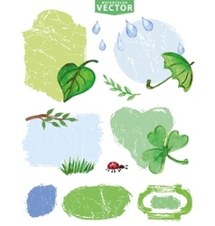 Watercolor Spring labels setGreen vector image