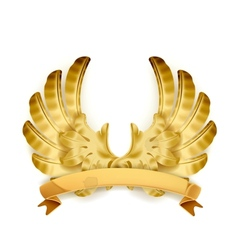 Wings golden emblem vector image vector image
