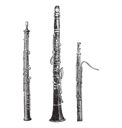 Woodwind instruments vintage engraved vector
