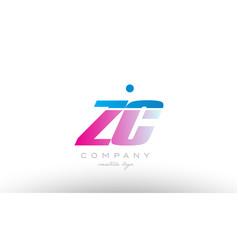 zc z c alphabet letter combination pink blue bold vector image vector image