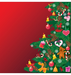 Christmas tree with accessories on red background vector image