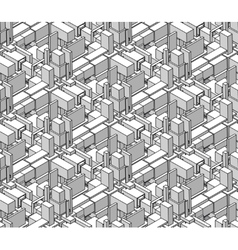 Seamless black and white shaded isometric vector