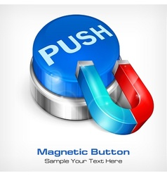 Blue button with magnet vector