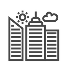 City building thin line icon vector