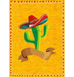 Mexican food cactus over grunge background vector image