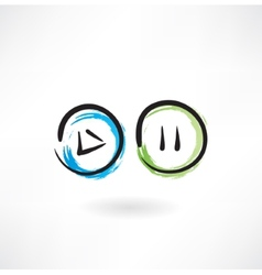 Play pause buttons grunge icon vector