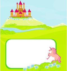 Portrait frame with fairy tale castle and vector image