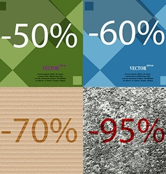 60 70 95 icon set of percent discount on abstract vector