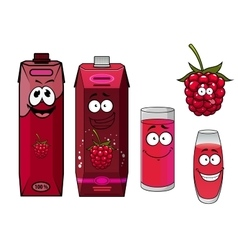 Healthy fresh raspberry juice cartoon characters vector