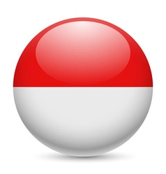Round glossy icon of indonesia vector