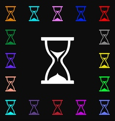 Hourglass icon sign lots of colorful symbols for vector