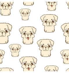 Seamless pattern with pug puppies hand drawn vector