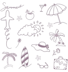 Doodle set recreation in beach vector