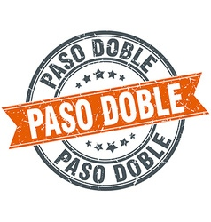 Paso doble round orange grungy vintage isolated vector