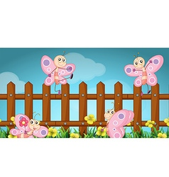 Scene with butterflies and wooden fence vector