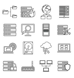 Big data icons set outline style vector