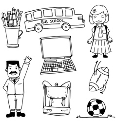 Doodle of school element bus bag ball vector