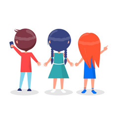back view on best friends girls and boy isolated vector image vector image