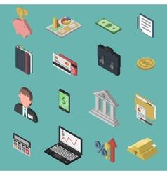 Bank Isometric Icon Set vector image