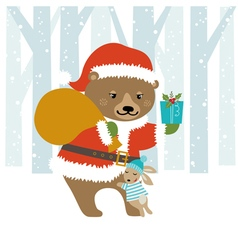 Bear santa vector