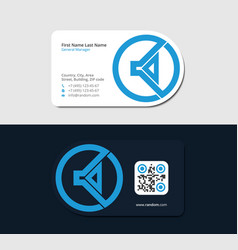 blue business card with music headphone vector image