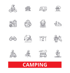 camping family travel activity hiking camper vector image