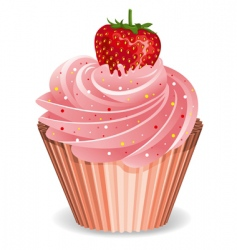 cupcake with strawberry vector image