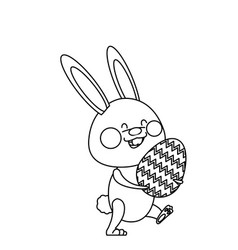 cute easter bunny holding egg spring party line vector image
